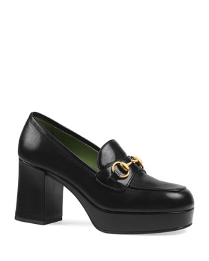 ad4641dc2ad Gucci Houdan 85mm Leather Loafer Pumps
