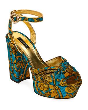 d5d1dbdbd22 Dolce   Gabbana Floral Jacquard Platform Sandals