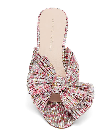 Image 3 of 4: Emilia Pleated Knot Slide Sandals
