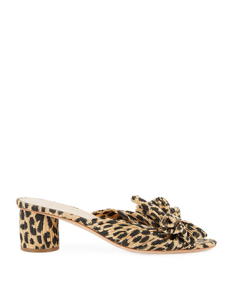 Image 3 of 4: Loeffler Randall Emilia Pleated Leopard-Print Knot Slide Sandals