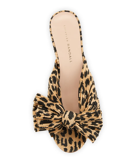 Image 4 of 4: Loeffler Randall Emilia Pleated Leopard-Print Knot Slide Sandals