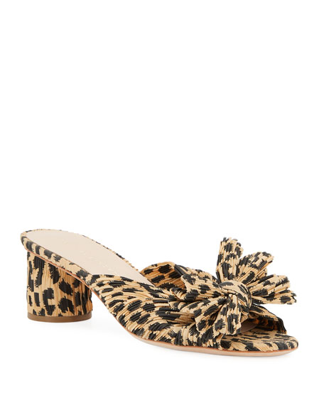 Image 1 of 4: Loeffler Randall Emilia Pleated Leopard-Print Knot Slide Sandals