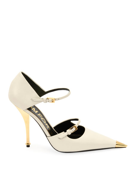 Image 3 of 5: Two-Strap Mary Jane Pumps with Pointed Metal Toe