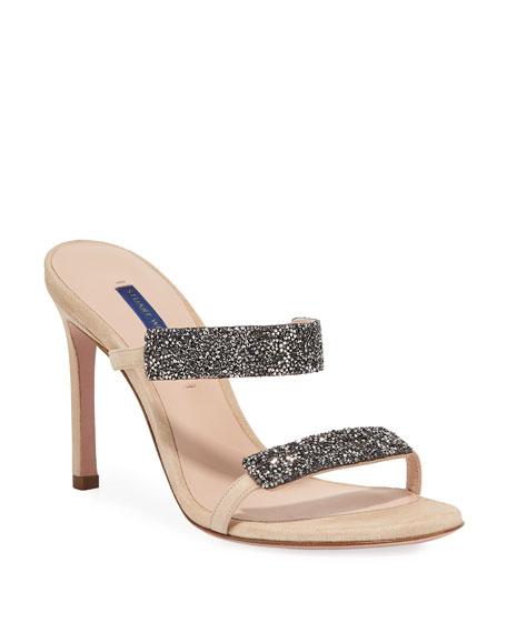 Stuart Weitzman Razzle 95 Crystal-Embellished Sandals