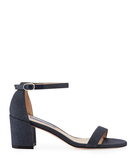 Stuart Weitzman Simple Canvas Ankle-Wrap Sandals