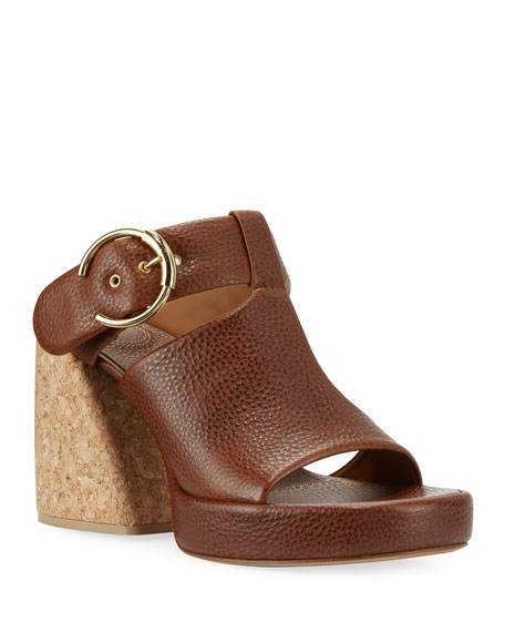 Chloe Wave Crocodile-Embossed Sandals