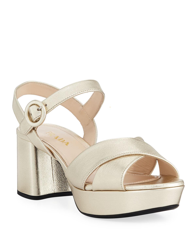 2c3fa34b2595e Metallic Leather Crisscross Ankle-Wrap Sandals