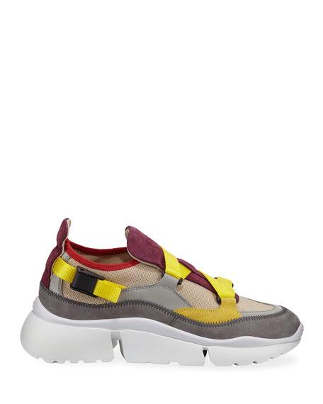 Chloe Sonnie Mixed Nylon Sneakers