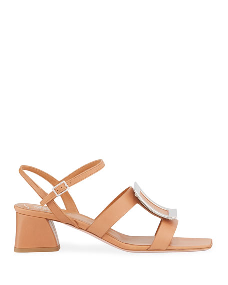 Roger Vivier Strappy Leather Buckle Sandals