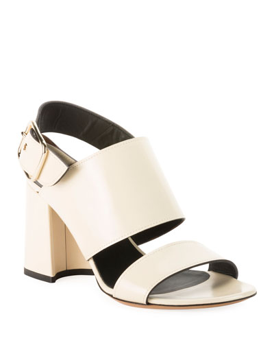Calf Leather Chunky Heel Sandals