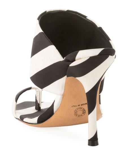 Dries Van Noten Striped Fabric Mule Sandals