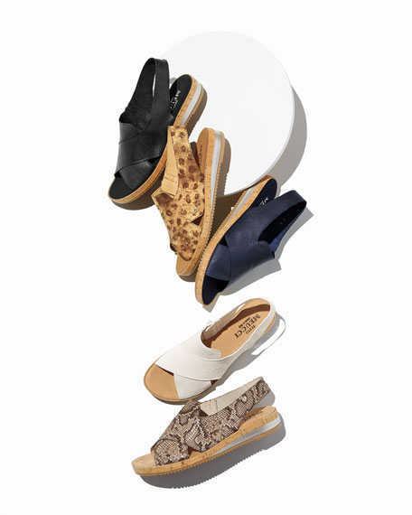 Sesto Meucci Sabita Comfort Printed Leather Slingback Sandals