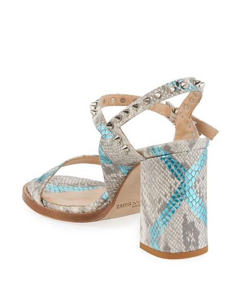 Zadig & Voltaire Vogue Wild Snake-Embossed Sandals