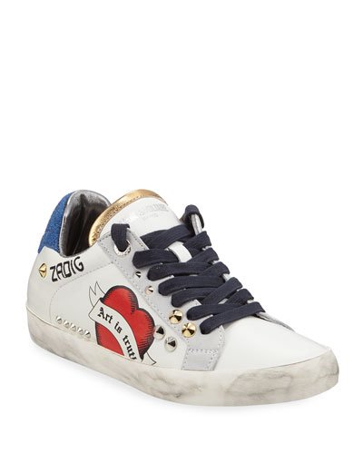 Zadig Used Embellished Leather Sneakers