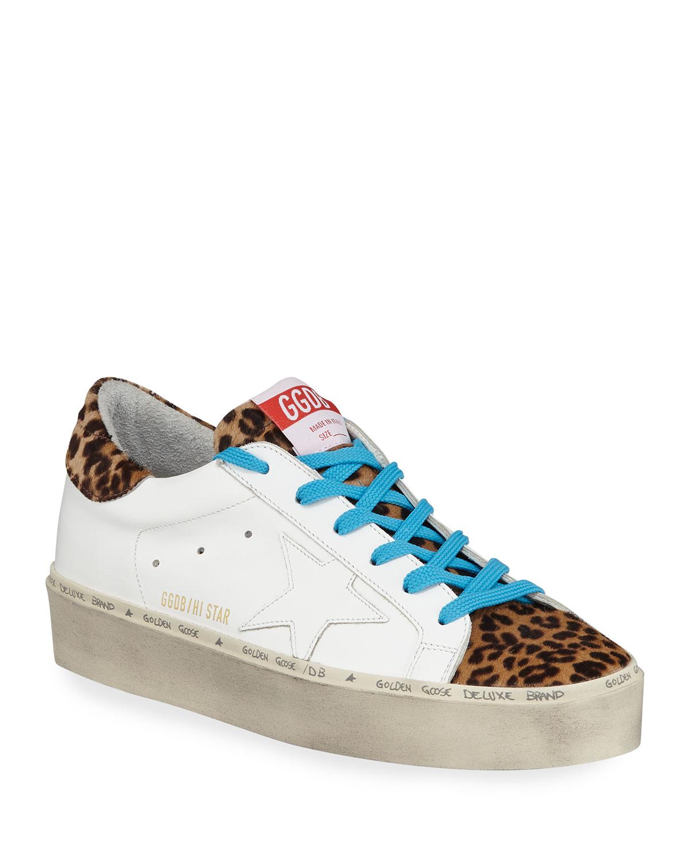 32eca2f6859 Golden Goose Hi Star Leather   Leopard Platform Sneakers