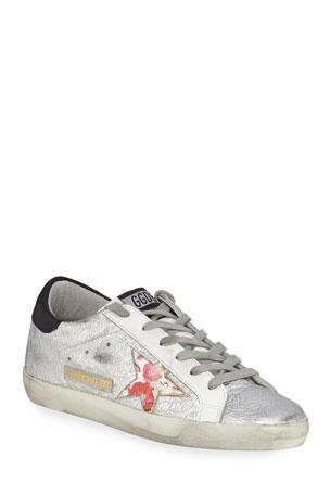 Golden Goose Superstar Crinkled Metallic Leather Sneakers
