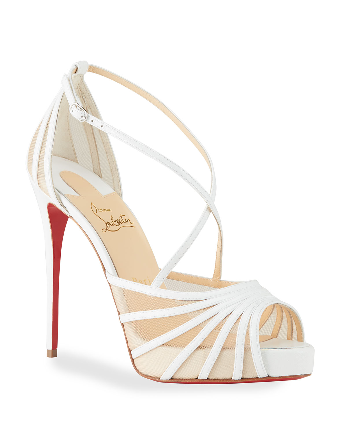 d26362dbab Christian Louboutin Filamenta Strappy Mesh Red Sole Sandals | Neiman Marcus