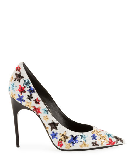 Saint Laurent Palace Star Sequined High-Heel Pumps