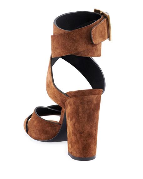 Saint Laurent Oak Suede Buckle Sandals