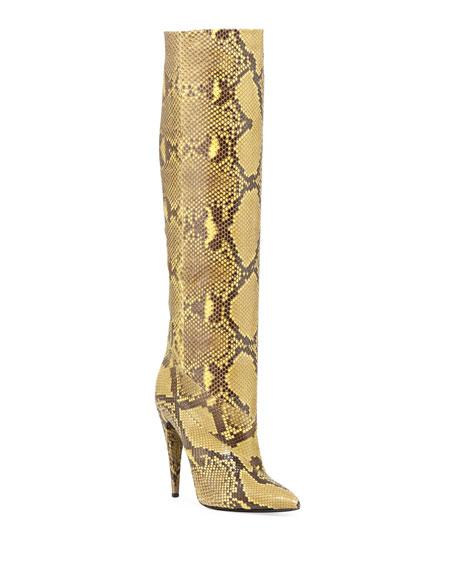Saint Laurent Abbey Python Knee Boots