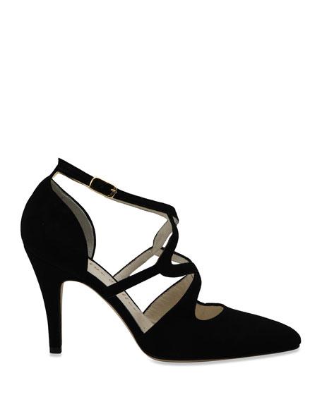 Bettye Muller Gallant Suede High Sandal Pumps