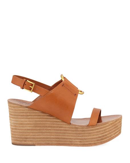 Tory Burch Ravello Slingback Leather Platform Sandals