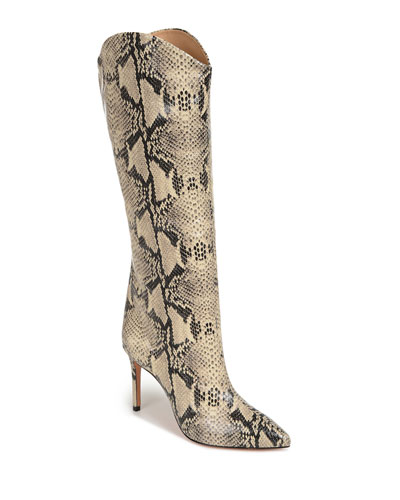 Maryana Snake-Print Leather Knee Boots