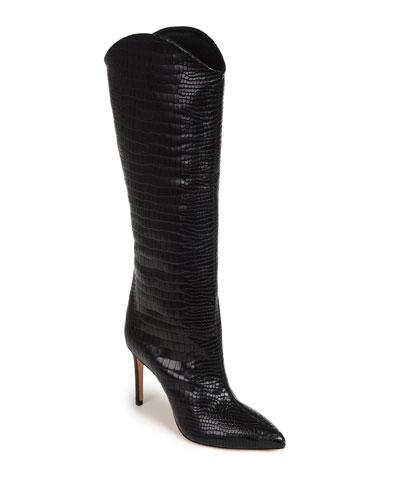Maryana Snake-Print Leather Knee Boots