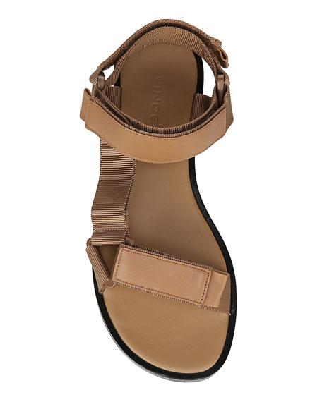 Vince Parks Flat Leather Grip-Strap Sandals
