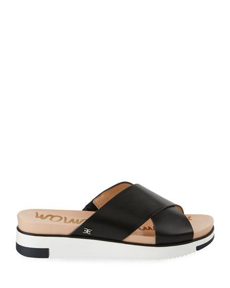 Sam Edelman Audrea Leather Platform Slide Sandals, Black