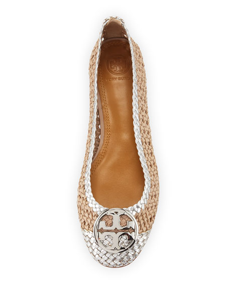 Tory Burch Chelsea Woven Metallic Leather Ballet Flats