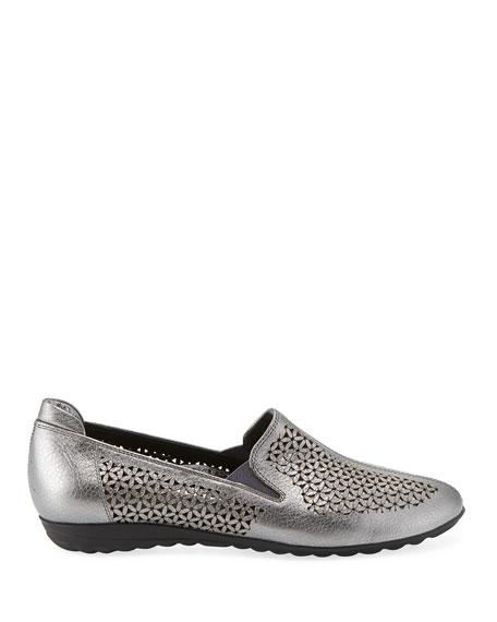 Sesto Meucci Bev Metallic Cutout Sneaker Flats, Silver