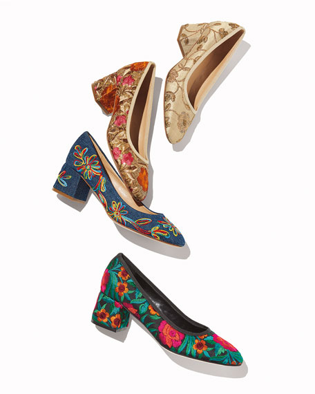 Sesto Meucci Megs Floral Embroidered Pumps