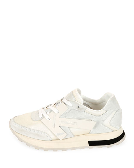 Off-White HG Runner Low-Top Suede Sneakers, White