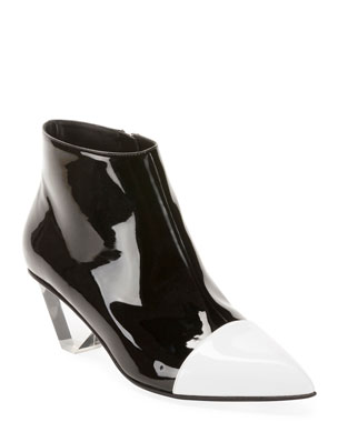 9f611535e57e Balmain Lucky Two-Tone Patent Booties