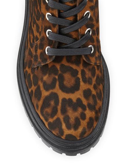 Gianvito Rossi Leopard-Print Suede Combat Booties