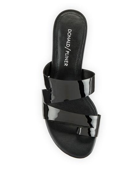 Donald J Pliner Klarisa Asymmetric Patent Slide Sandals