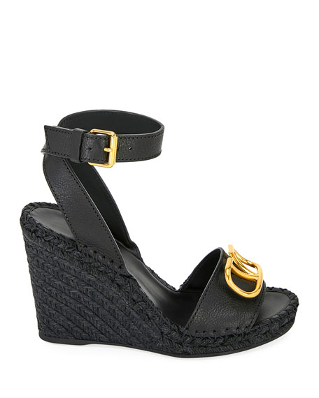 Image 3 of 4: Valentino Garavani VLOGO Leather Wedge Espadrilles