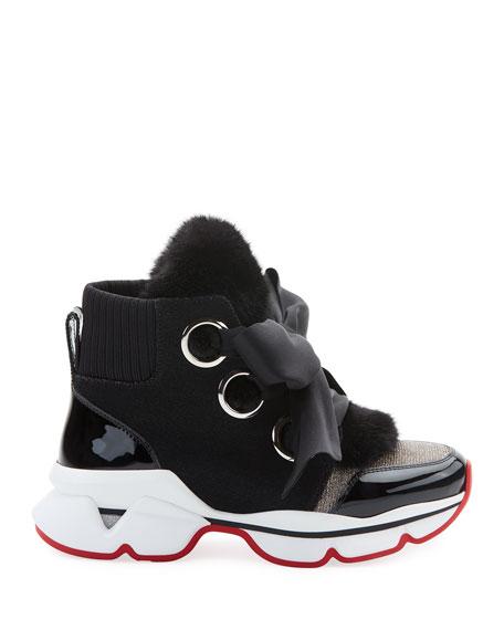 Christian Louboutin Marellaski Faux-Fur Red Sole Sneakers