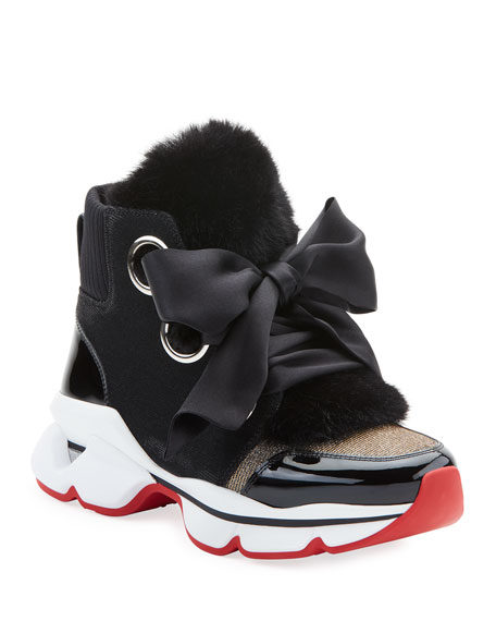 Image 1 of 6: Marellaski Faux-Fur Red Sole Sneakers