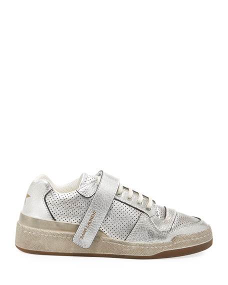 Saint Laurent SL24 Metallic Perforated Grip Sneakers
