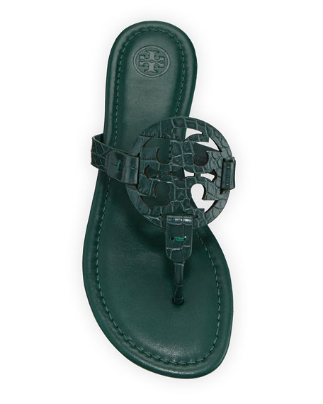 Tory Burch Miller Embossed Leather Flat Sandals