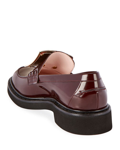Roger Vivier Patent Leather Pilgrim Buckle Loafers