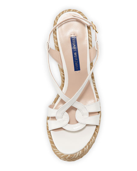 Stuart Weitzman Coquille Leather Wedge Espadrilles