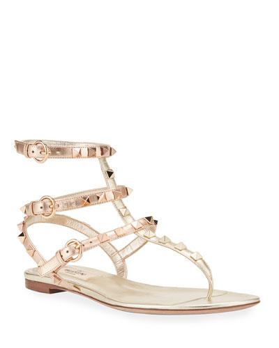 Rockstud Flat Metallic Gladiator Sandals