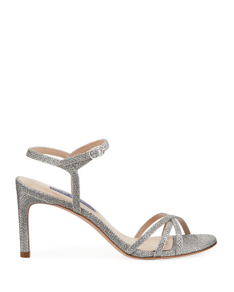 Stuart Weitzman Starla Metallic Fabric Sandals
