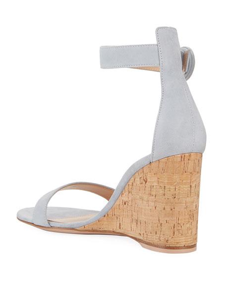 Gianvito Rossi Suede Cork-Wedge Sandals