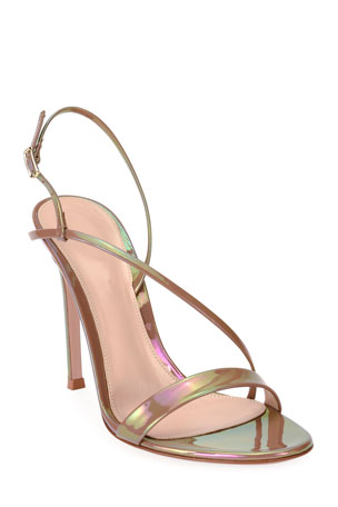 Gianvito Rossi Assymmetric Oil Patent Sandals $795.00
