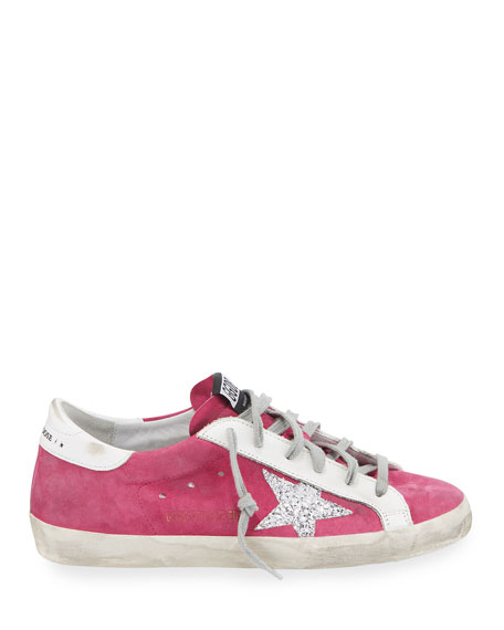 Golden Goose Superstar Suede Sneakers with Glitter Star