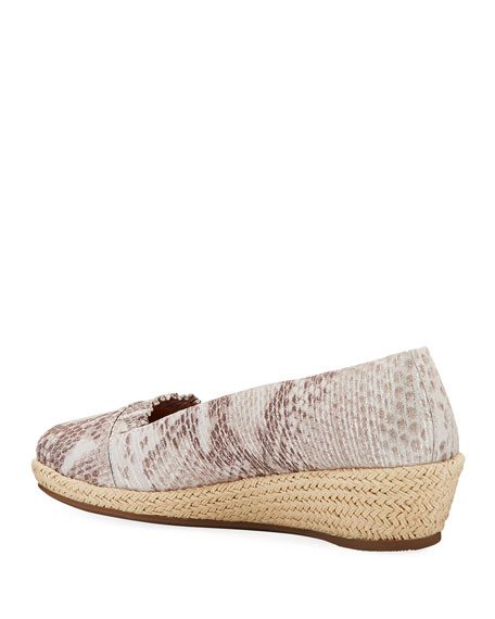 Gentle Souls Luci Ruffle Metallic Leather Espadrille Loafers